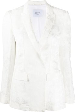 floral embroidered double-breasted blazer - White