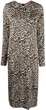 leopard print midi dress - White