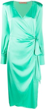 Carly wrap midi dress - Green