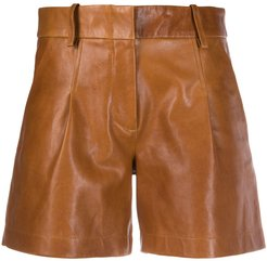 pleated waist shorts - Brown