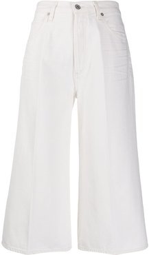 high rise cropped jeans - White