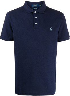 logo embroidered polo shirt - Blue