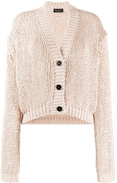 chunky-knit buttoned cardigan - NEUTRALS