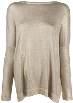 dropped shoulder knitted top - GOLD