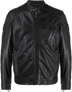 stitched panel jacket - Black