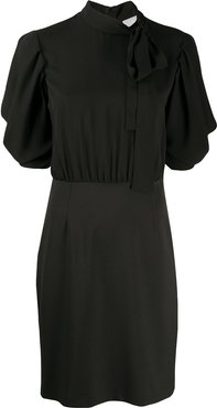 tied-neck fitted dress - Black