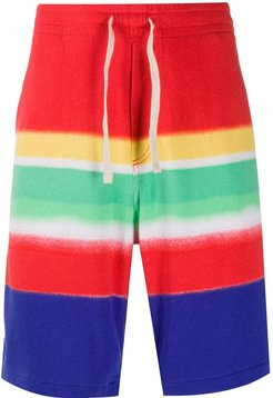 striped track shorts - Red