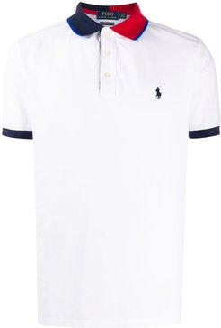 colour block collar polo shirt - White