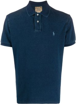 faded look polo shirt - Blue