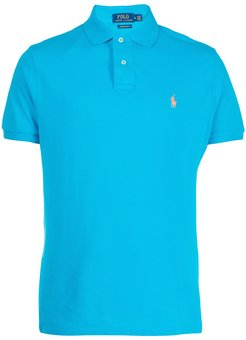 embroidered logo polo shirt - Blue