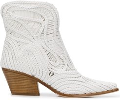 Charlize braided ankle boots - White