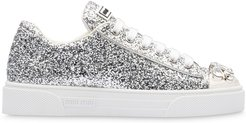 glitter crystal-embellished low-top sneakers - SILVER