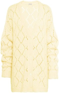 crystal detailed crocheted cardigan - Yellow