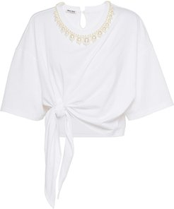 faux-pearl embellished tie-front T-shirt - White