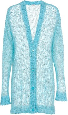 long sequined cardigan - Blue