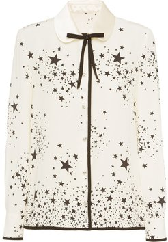 star print bow-embellished blouse - NEUTRALS