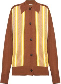 striped buttoned cardigan - Brown