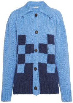 checked detail cardigan - Blue