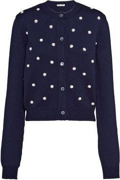 pearl and crystal embellished cardigan - Blue