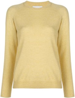 fine knit crew neck jumper - Yellow