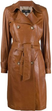 leather trench coat - Brown