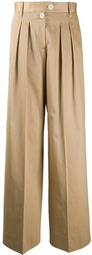 wide leg pleat detail trousers - NEUTRALS