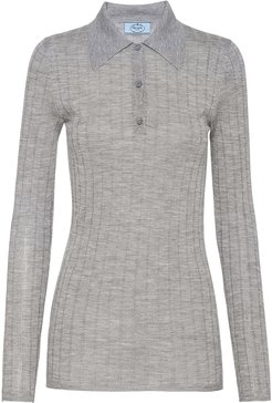 ribbed knitted polo shirt - Grey
