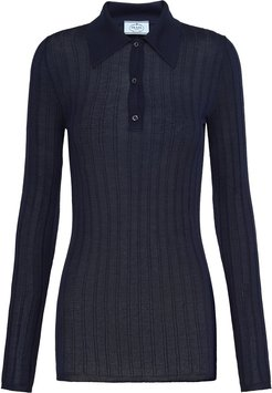 ribbed knitted polo shirt - Blue