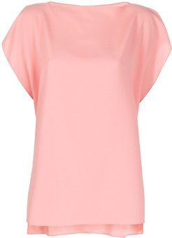 square neck relaxed fit blouse - PINK