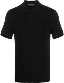layered knitted polo shirt - Black