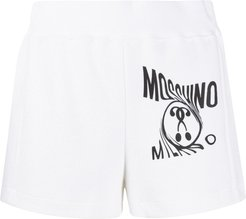 logo printed track shorts - White