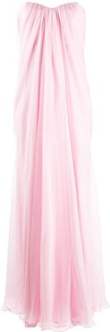 draped details long dress - PINK