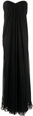 draped details long dress - Black