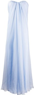 draped details long dress - Blue