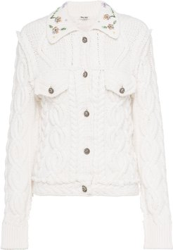 Lambswool cable knit cardigan - White