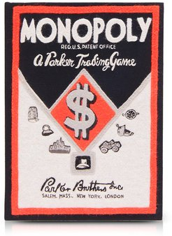 Le-tan Cotton And Wool Monopoly Parker Trading Game Book Clutch