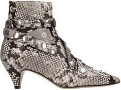 Python Print Leather Ankle Boots