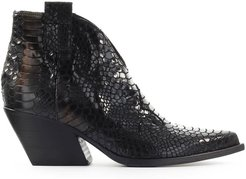 Black With Phyton Print Texan Style Ankle Boot