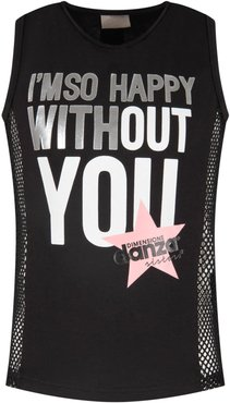 Black Girl Tank Top With Black Logo And Pink Star
