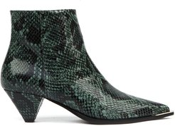 Green Python Leather Ankle Boots