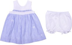 Striped White & Light Blue Linen & Cotton Dress With Diaper Cover