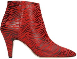 Zebra Red And Black Print Suede And Leather Ankle Boots