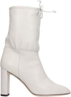 High Heels Ankle Boots In Grey Leather