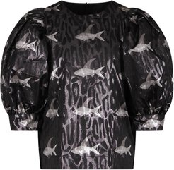 Black Girl Blouse With Colorful Fishes