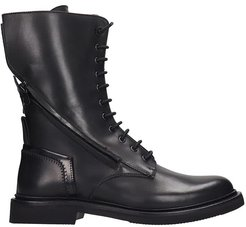 Bologna Combat Boots In Black Leather