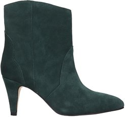 High Heels Ankle Boots In Green Suede