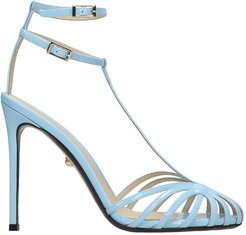 Stella 110 Sandals In Cyan Patent Leather
