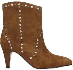 High Heels Ankle Boots In Leather Color Suede