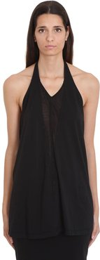 Dbl V Halter Topwear In Black Cotton