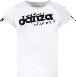White Girl T-shirt With Black Logo And Stripes
